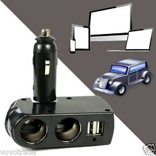 LED 2 USB Port Charger Supply+2 Socket Car Cigarette Lighter Extender Splitter