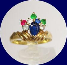 PRETTY 10K YELLOW GOLD SAPPHIRE & OTHER GEMSTONES RING - SIZE 7