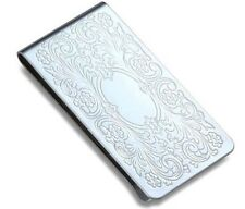Personalized Quality Floral Design Metal Money Clip - Free Engraving