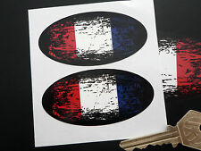 French Flag 'Fade to Black' Oval France Car Motorcycle Stickers 75mm Pair Worn
