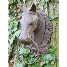 Wall Mounted Horse Head with Hanging Ring Cast Iron garden Ornament Decor NEW