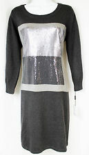 CALVIN KLEIN Dress Sweater Embellished w/Sequin Black & Gray  Size XL  NWT $134