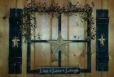 Primitive wall decoration.. black star farmhouse country folk live laugh love