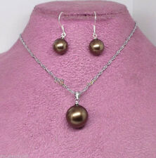 Genuine 10mm/14mm Brown Shell Pearl Hook earring pendant necklace Jewelry Set