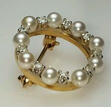natural white pearl diamond brooche antique 14k yellow gold eternity circle