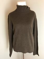 U-KNITS Turtleneck Sweater Size XL 100% Cashmere Brown Pearl Buttons