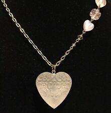 TARINA TARANTINO LUCITE HEART PENDANT NECKLACE GOLD TONE CHAIN W CRYSTAL