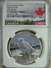 CANADA 20 DOLLARS 2016 SNOWY OWL COLORIZED NGC PF69 ULTRA CAMEO FINE SILVER COIN