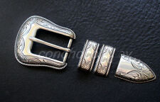 WESTERN ANTIQUE ROPE EDGE ENGRAVED 4 piece BELT BUCKLE SET FIT 1""
