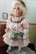 """ANTIQUE repro doll bebe 22""""  23"""" french bisque compo artist mohair wig S H"""