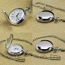 Silver Round Vintage Necklace Smooth Pocket Watch Rome Numerals Mens Gift P302C