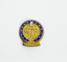 WWII Sterling Silver Blue Enamel E for Productions US Navy Award Pin-Attleboro