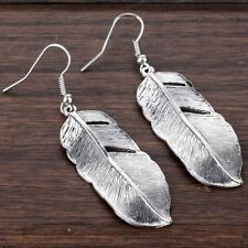 Tibetan Silver Special Feather Pendant Hook Earrings Party Xmas Jewelry Gifts