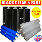STRONG CLEAR BLACK & BLUE PALLET STRETCH SHRINK WRAP PARCEL PACKING CLING FILM