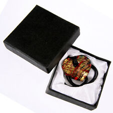 Handmade Glass Heart PENDANT NECKLACE Custume Jewellery Gold Red with Gift Box