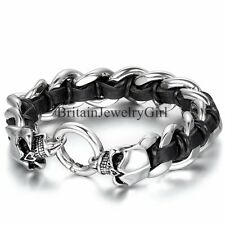 Men Stainless Steel Black Leather Bracelet Skull Clasp Link Chain Wristband 8.7""