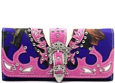 PINK PURPLE CAMO RHINESTONE CROWN BELT BUCKLE WESTERN LADIES TRIFOLD WALLET 11-1