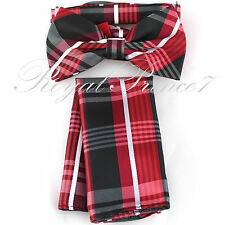 Men's Plaid & Checker Design Bow tie and Hanky Set Wedding Party Prom BT604