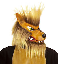WOLF MASK WITH PLUSH HAIR BIG BAD WOLF FAIRYTALE HALLOWEEN LATEX ADULT DELUXE