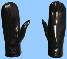 NEW WOMENS size 7 -medium GENUINE BLACK PATENT LEATHER MITTENS-RABBIT FUR LINED