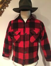 vtg 40s 50s Woolrich Mens Mackinaw Red Buffalo Plaid Wool Hunting Jacket Coat M