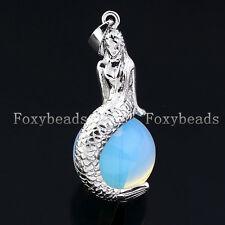 1X Silvery Mermaid Sit On Round Opal Opalite Bead Pendant fit Necklace Jewelry