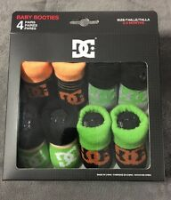 4 Pairs DC Shoes Baby Infant Boy's Booties Black/Green/Orange 0 - 6 Months NEW