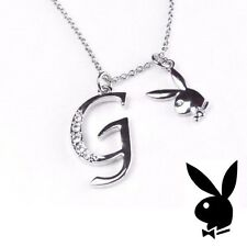 Playboy Necklace Initial Letter G Pendant Bunny Charm Crystals Platinum Plated
