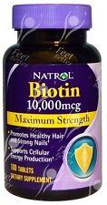 Natrol, biotina, la fuerza máxima 10000mcg x100tabs-pérdida de cabello, la energía, la inmunidad