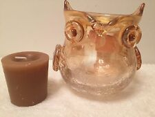 Pearlized Crackle Glass Owl Candle Holder w/ Amber Musk Votive Pier 1 Imports
