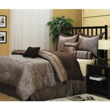 Light Dark Brown Embroidered Geometric 7 piece Comforter Bedding Set Queen Size