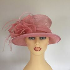 Ladies Occasion Wedding Races Mother Bride Hat Pink Pearls Feathers Failsworth