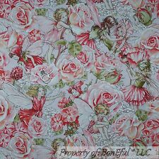 BonEful Fabric FQ Cotton Quilt Pink White Fairy Butterfly Wings Rose Flower Girl