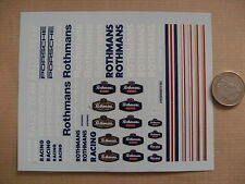 decals decalcomanie  rothmans  divers et mot majuscule porsche racing filet 1/43