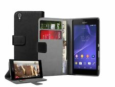 Wallet BLACK Leather Flip Case Cover Pouch for Sony Xperia T3 D5103 / D5106