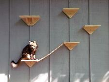Handcrafted Bare Pine Cat Wall Mount Stairs Steps Perch & Bridge Jungle Gym