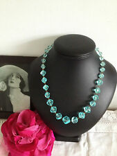 Vintage Art Deco 1930s Plastic Lucite Aqua Crystal Beads Necklace On Metal Links