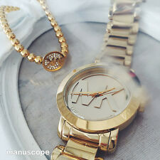 New Michael Kors Women MK Logo Runaway Gold Bracelet Watch Japan Movement MK3206