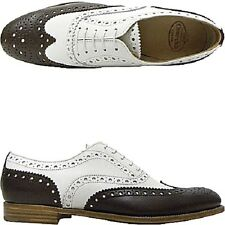 Autentiche Church's Burwood bicolor bianco+moro leather 36.5 donna ladies uk 3.5