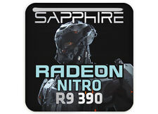 "Sapphire Radeon NITRO R9 390 1""x1"" Chrome Effect Domed Case Badge / Sticker"