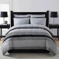 Black Grey White Striped Plaid 8 piece Comforter Bedding Set Queen Size