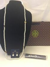 TORY BURCH Evie PEARL GOLD LOGO NECKLACE NWT + Gift Bag + DUST BAG
