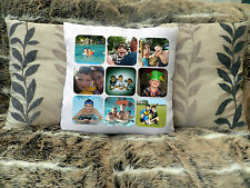 """Lovely Personalizzata Cuscino 16""""x16"""" Photo Collage Compleanno Matrimonio Caravan"""