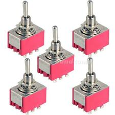 5Pcs 9-Pin Mini Toggle Switch 3PDT 2 Position ON-ON 2A250V/5A125VAC MTS-302 G1CG