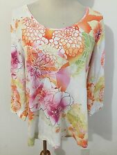 Chico's Additions Scoop Neck Top T-Shirt Tee Multi-Color Floral Size 2