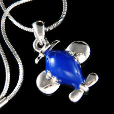 w Swarovski Crystal Royal Blue aviation Pilot Miniature ~AIRPLANE plane Necklace