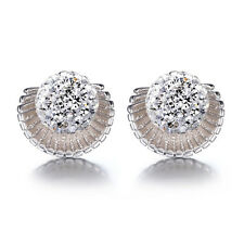 Womens 925 Sterling Silver Sea Shells Swarovski Crystal Ball Ear Stud Earrings