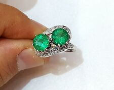 PLATINUM  Vintage  Art Deco   RING NATURAL GREEN EMERALD 2.55CT