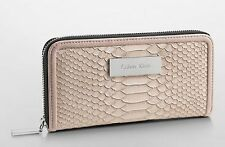 NWT Calvin Klein Beige White Label Adalyn Snake Zip Continental Wallet