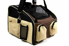 New Pet Dog Cat Puppy Carrier Car Seat Travel Shoulder Hand Tote Bag Beige UK